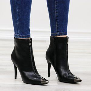 Pointy Toe Ankle Black Boots Faux Leather
